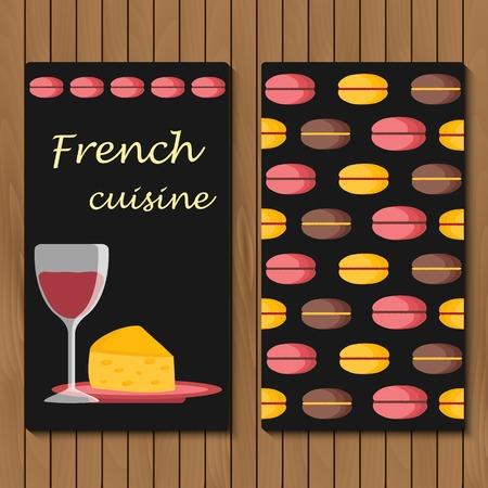 cuisine fran�aise: Mod�le de menu, carte ou livret fran�ais de bande dessin�e objets alimentaires pour votre conception Illustration