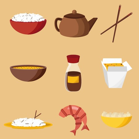 thai noodle: Set of objects on chinese cuisine theme for your design