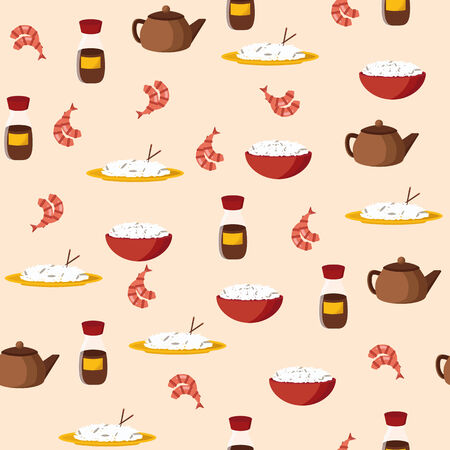 Seamless background on chinese cuisine theme for your design Vector