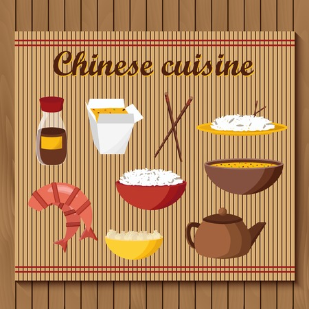 rice and beans: Set of objects on chinese cuisine theme for your design