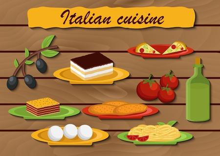 italian food: Set of cartoon objects on italian food theme for your design Illustration