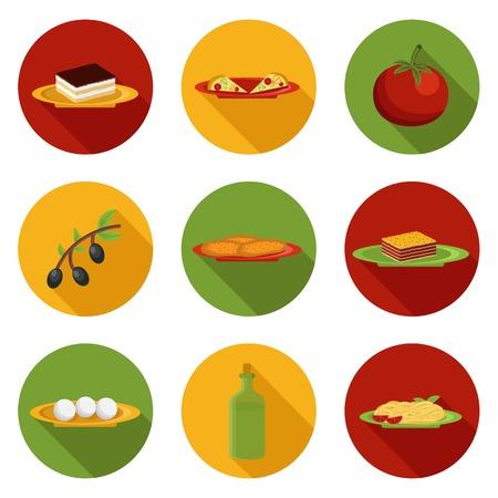 spaghetti bolognese: Set of cartoon icons on italian food theme for your design Illustration