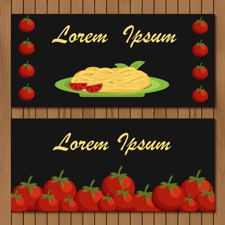 spaghetti bolognese: Template for menu on italian food theme for your design Illustration