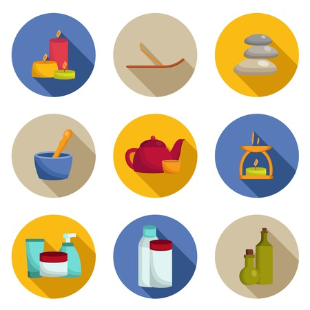 Set of flat spa icons with shadows for your design