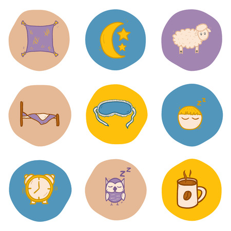 Set of hand drawn icons on sleep theme for your design Vector
