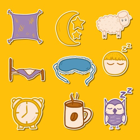 Set of hand drawn stickers on sleep theme for your design Vector