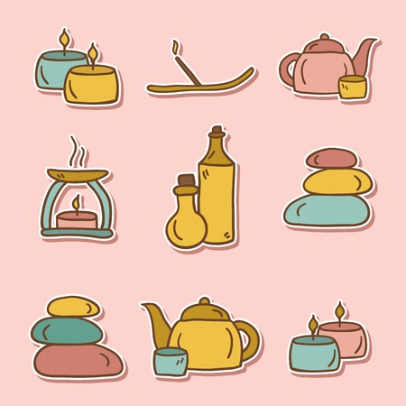 Set of hand drawn stickers on spa theme for your design Illustration