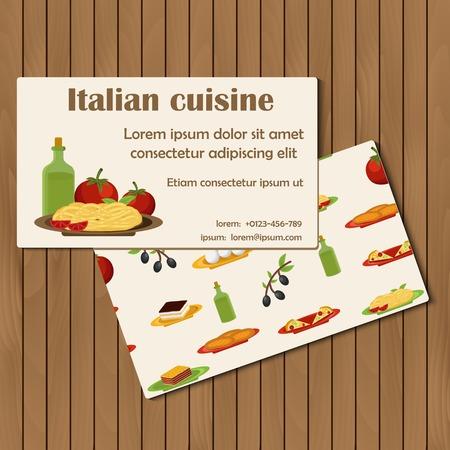 spaghetti bolognese: Template for cards on cartoon italian food theme for your design Illustration