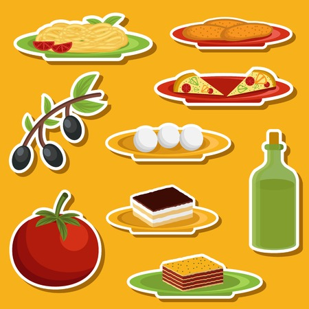 spaghetti bolognese: Set of cartoon stickers on italian food theme for your design