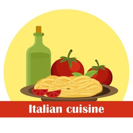 spaghetti bolognese: Vector illustration on italian food theme for your design