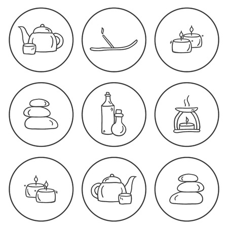 skin oil: Set of hand drawn icons on spa theme for your design