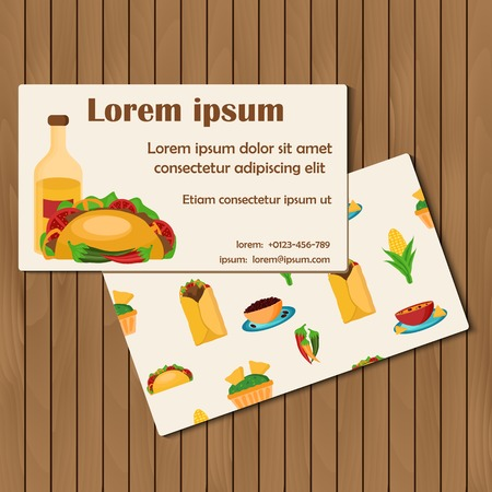 Template for cards or booklets on mexican food theme for your design Vector