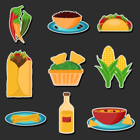 Set of cartoon stickers with mexican food for your design Vector