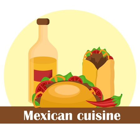 Vector illustraktion with mexican food for your design Vector