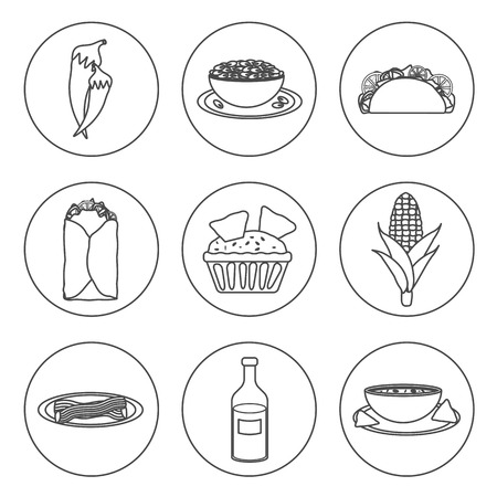 Set of black-white icons with mexican food for your design Vector