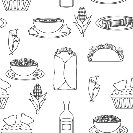 Seamless black-white background with mexican food for your design Vector