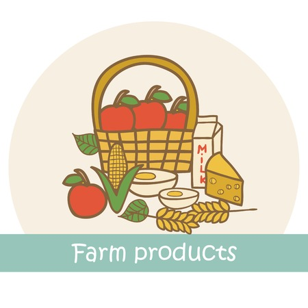Vector hand drawn illustration on farm products theme for your design Vector