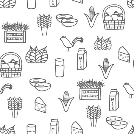 Seamless hand drawn background on farm products theme for your design