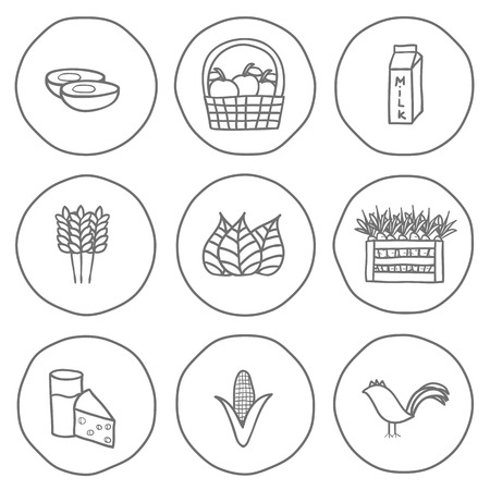 Set of black-white hand drawn icons on farm products theme for your design Vector