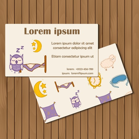 Template for booklet or card with hand drawn sleep objects for your design Vector