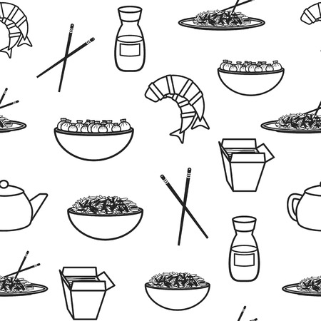 Seamless background with chinese food for your design Vector