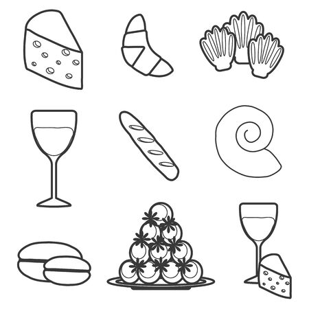 french cafe: Set of cartoon french food objects for your design