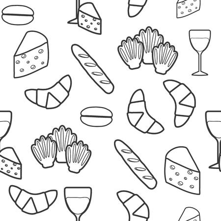 cuisine fran�aise: Seamless alimentaire fran�ais pour votre conception Illustration