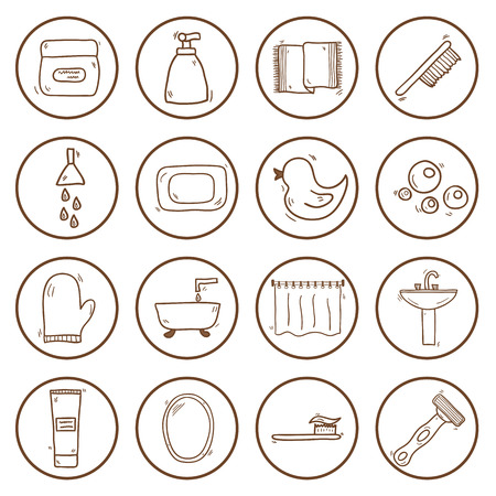 shower curtain: Set of hand drawn bathroom icons for your design