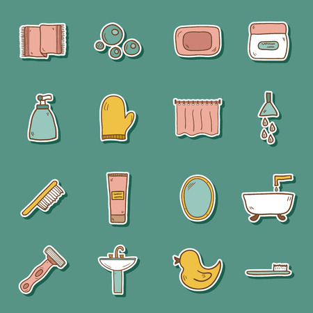 spa bath: Set of hand drawn bathroom stickers for your design