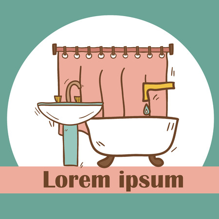 bast: Hand drawn bathroom illustration for your design
