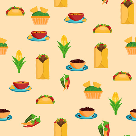 Seamless background with mexican food for your design Vector