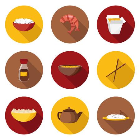 arroz chino: Conjunto de objetos planos en la cocina china tema para su dise�o