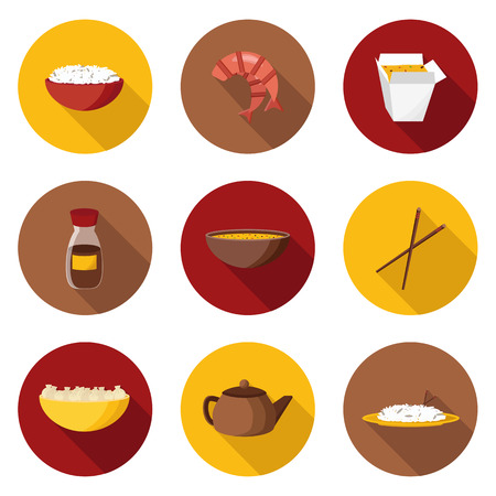 rice and beans: Set of flat objects on chinese cuisine theme for your design Illustration