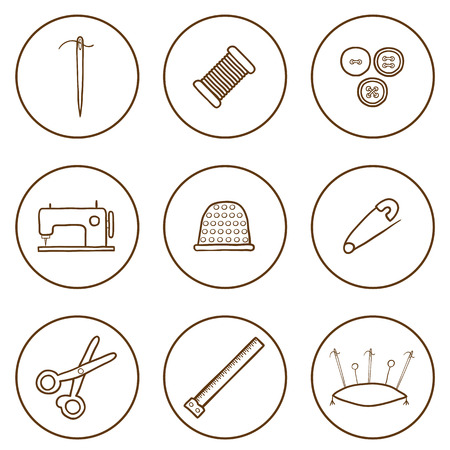 Set of hand drawn needle work icons for your design Illusztráció