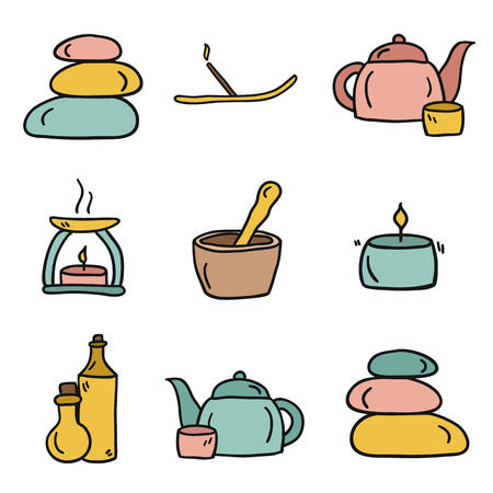 Set of hand drawn icons on spa theme for your design