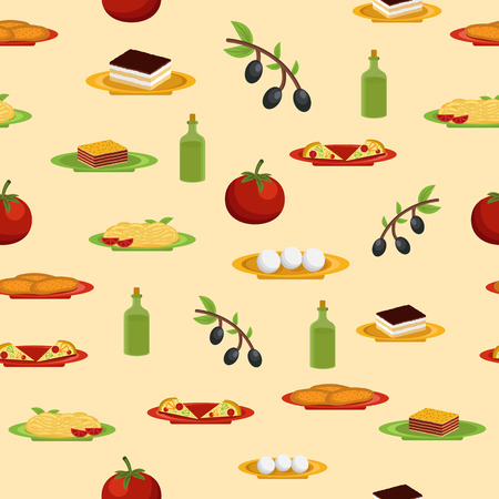 bolognese: Seamless background on italian food theme for your design Illustration