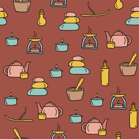 Seamless hand drawn spa background for your design Illustration