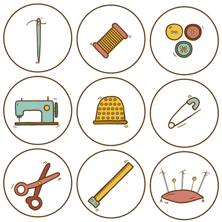 Set of hand drawn needle work icons for your design Illustration