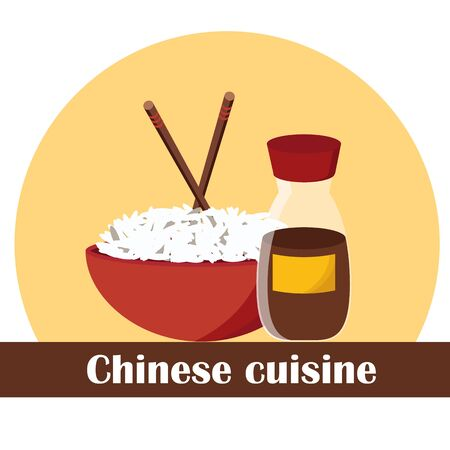 thai noodle: Vector illustration on chinese food theme for your design