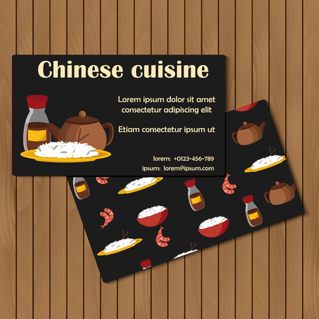 beans and rice: Template for card or booklet on chinese cuisine theme for your design