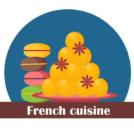 french cuisine: Cartoon illustration on french cuisine theme for your design