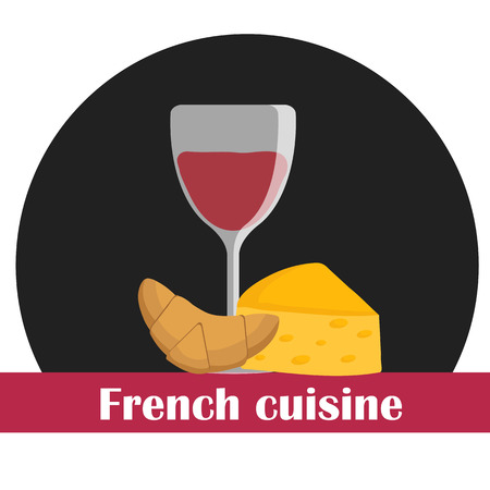 culinary tourism: Cartoon illustration on french cuisine theme for your design