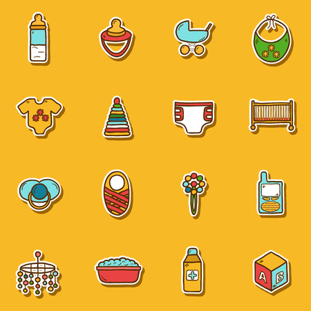 toy blocks: Set of hand drawn stickers on baby care theme for your design