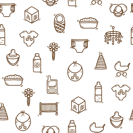 baby care: Seamless hand drawn background on baby care theme for your design Illustration