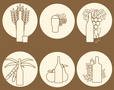 Set of logos on alcohol theme for your design Vector
