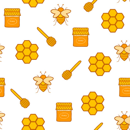 Seamless hand drawn background on beekeeping themefor your design Illustration