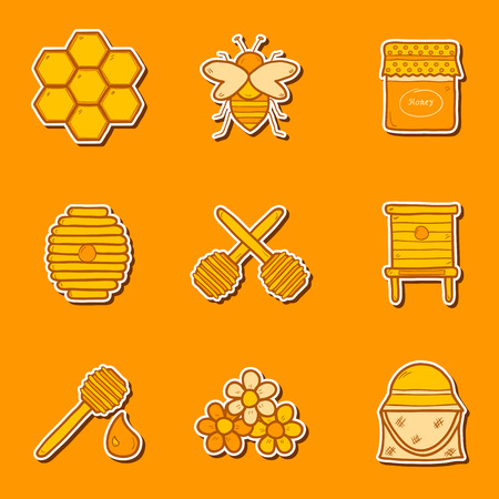 beekeeping: Set of hand drawn stickers on beekeeping theme for your design