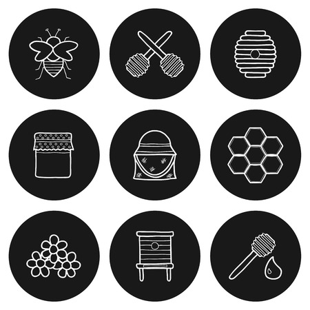 beekeeping: Set of hand drawn icons on beekeeping theme for your design Illustration