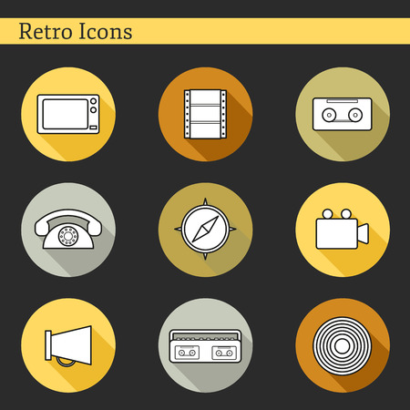 Set of flat icons on retro theme for your design Vector