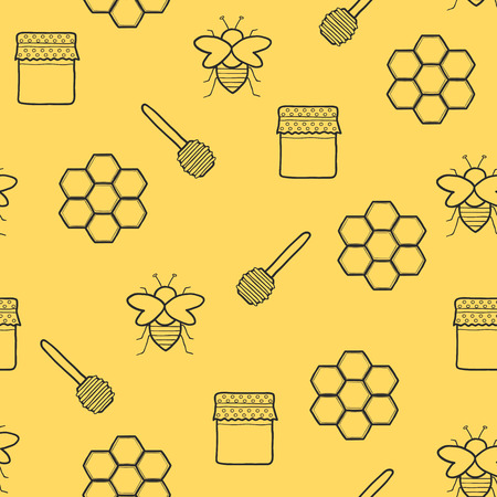 beekeeping: Seamless hand drawn background on beekeeping themefor your design Illustration